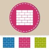 Tegelstenvägg - färgrika vektorsymboler - som isoleras på vit Royaltyfria Bilder
