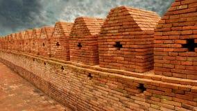 Tegelstenvägg för forntida stad Arkivbild