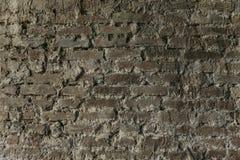 Tegelstenvägg med det naturliga murverket för murbrukgrå färgbakgrund Arkivbild