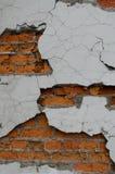 Tegelstenvägg med stupat av vit murbruk royaltyfria foton
