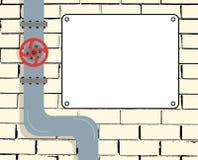 Tegelstenvägg med vatten- eller gasledning- eller oljarörledningen Vattenventil Textbräde också vektor för coreldrawillustration vektor illustrationer