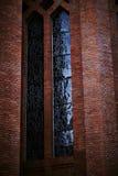 Tegelstenvägg och fönster royaltyfri fotografi