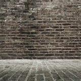 Tegelstenvägg och golv Royaltyfri Foto