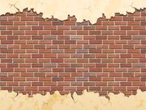 Tegelstenvägg och knäckt betong Royaltyfri Fotografi