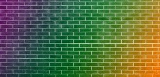 Tegelstenvägg, orange grön purpurfärgad bakgrund för textur för tegelstenvägg för grafisk design vektor illustrationer