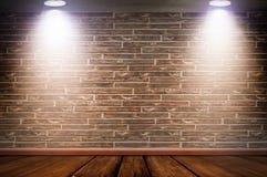 Tegelstenvägg som är upplyst vid lampor vektor illustrationer