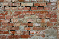 Tegelstenväggar, gammal vägg med att smula murbruk, textur, bakgrund royaltyfri bild