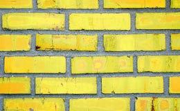 tegelstenväggyellow Fotografering för Bildbyråer