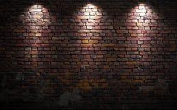 Tegelstenvägg med ljus Fotografering för Bildbyråer