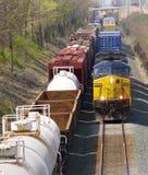 Tegemoetkomende trein stock foto's