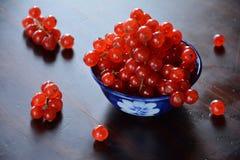 Tegen de lichte mening van redcurrant bessen in een keramiekkom Stock Foto