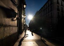 Tegen de zon Ochtend in Madrid royalty-vrije stock afbeeldingen