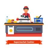 Tegen het bureaumateriaal en bediende van de supermarktopslag Royalty-vrije Stock Foto's
