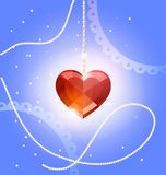 tegenhanger hart-kristal royalty-vrije illustratie
