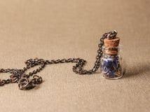 Tegenhanger op een zilveren ketting wijnoogst royalty-vrije stock afbeelding