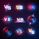 Tegenover emblemen Versus de mmaconcurrentie, lucha libre wedstrijd van de slagconfrontatie tegenover vectorsymbolen royalty-vrije illustratie