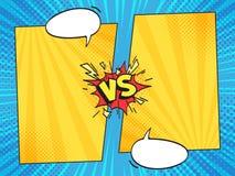 Tegenover grappig kader Versus strippaginaboek borrelt de kaders met de toespraak van de beeldverhaaltekst op halftone strepenvec vector illustratie