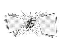 Tegenover het ontwerp van de van de achtergrond brievenstrijd strippaginastijl Vector illustratie Stock Foto's