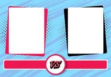 Tegenover het ontwerp van de van de achtergrond brievenstrijd strippaginastijl Vector illustratie Stock Afbeeldingen