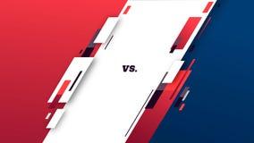 Tegenover het scherm Versus slagkrantekop, conflictduel tussen Rode en Blauwe teams De concurrentie van de confrontatiestrijd Spo vector illustratie