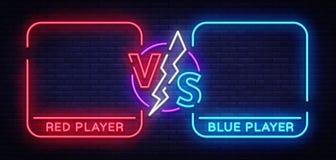 Tegenover het schermontwerp in neonstijl De Aankondiging van de neonbanner van twee vechters Blauw futuristisch neon VERSUS blade vector illustratie