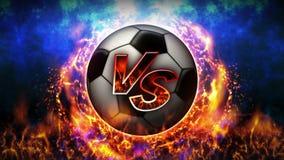 Tegenover strijdachtergrond Versus slagstrijd De bal van het voetbal De animatie van de het conceptenlijn van de sportslag stock illustratie