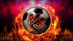 Tegenover strijdachtergrond Versus slagstrijd De bal van het voetbal De animatie van de het conceptenlijn van de sportslag vector illustratie
