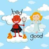 Tegenovergesteld woord voor slecht en goed met engel en duivel Stock Afbeelding