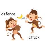 Tegenovergestelde defensie en aanvalsillustratie royalty-vrije illustratie