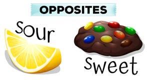 Tegenovergestelde woorden met zuur en zoet vector illustratie