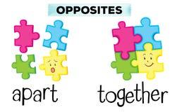 Tegenovergestelde woorden voor apart en samen stock illustratie