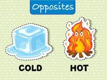 Tegenovergestelde woorden voor koud en heet Stock Foto's