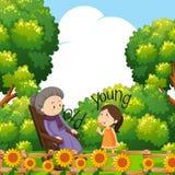 Tegenovergestelde woorden voor oud en jong met grootmoeder en kind vector illustratie