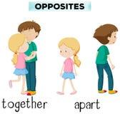 Tegenovergestelde woorden voor samen en apart royalty-vrije illustratie