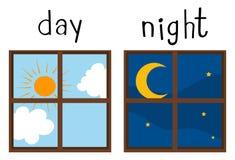 Tegenovergestelde wordcard voor dag en nacht Stock Afbeelding