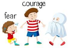 Tegenovergestelde wordcard voor vrees en moed royalty-vrije illustratie