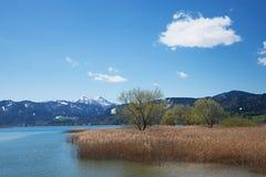 Tegernsee λιμνών το Μάρτιο, τοπίο Βαυαρία άνοιξης Στοκ Εικόνες