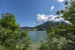 Tegernsee, Bavaria panorama w świetle słonecznym/ Zdjęcie Stock