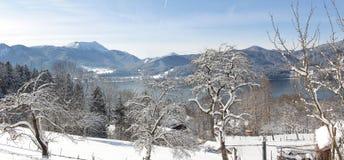 Tegernsee del paesaggio di inverno, vista dal passaggio pedonale del pendio di collina Fotografia Stock Libera da Diritti