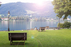 Tegernsee lake and Alp mountains Royalty Free Stock Image