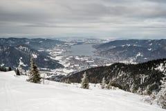 Tegernsee z śniegu krajobrazem Fotografia Stock