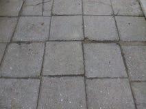 Tegole di cemento armato del marciapiede nell'iarda della città Fotografie Stock Libere da Diritti