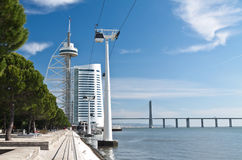 Tegos river with Vasco da Gama tower Stock Images