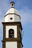 Teguise  arrecife lanzarote  spain the old wall   church bell to Royalty Free Stock Images