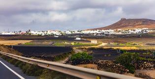 Teguise town and Santa Bárbara Castle Stock Images