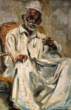 Teh Tarik Seller, Oil on Canvas by Tay Boon Pin. Stock Image