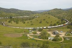 The Tehachapi Train Loop near Tehachapi California is the historic location of the Southern Pacific Railroad where freight trains  Stock Photo
