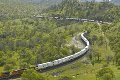 The Tehachapi Train Loop near Tehachapi California is the historic location of the Southern Pacific Railroad where freight trains  Royalty Free Stock Image