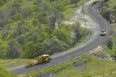 The Tehachapi Train Loop near Tehachapi California is the historic location of the Southern Pacific Railroad where freight trains  Stock Photography