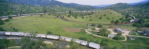 The Tehachapi Train Loop near Tehachapi California is the historic location of the Southern Pacific Railroad where freight trains  Stock Images